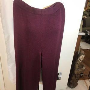 St John Collection Burgundy Santana knit pants